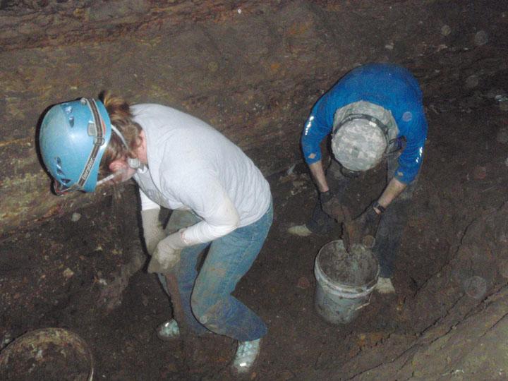 Volunteer clearing drain