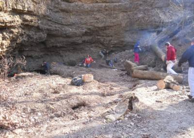 2-11-12 Afternoon. Volunteers cut and burn logs