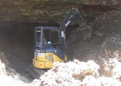Excavator inside cave entrance 7-3-14